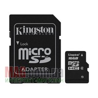 Карта памяти Kingston micro SDHC 16384МБ + Full-Size SD Adapter
